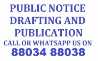 Publication of Legal Notices Services Call 88034 88038