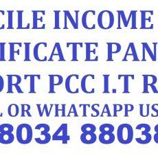 Domicile Income Certificate Pan Card Passport Services Call 88034 88038